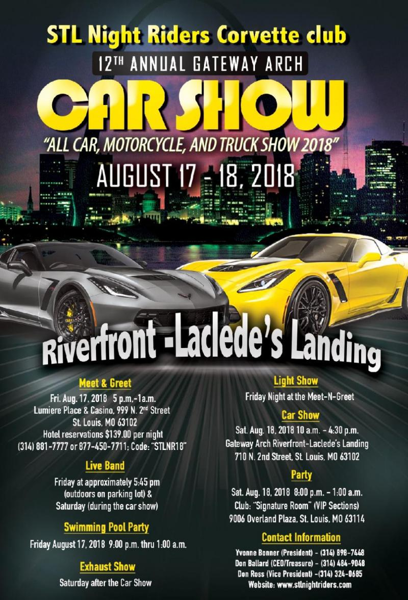 STL NIGHT RIDERS CORVETTE CLUB Car Show Poster - St louis car shows